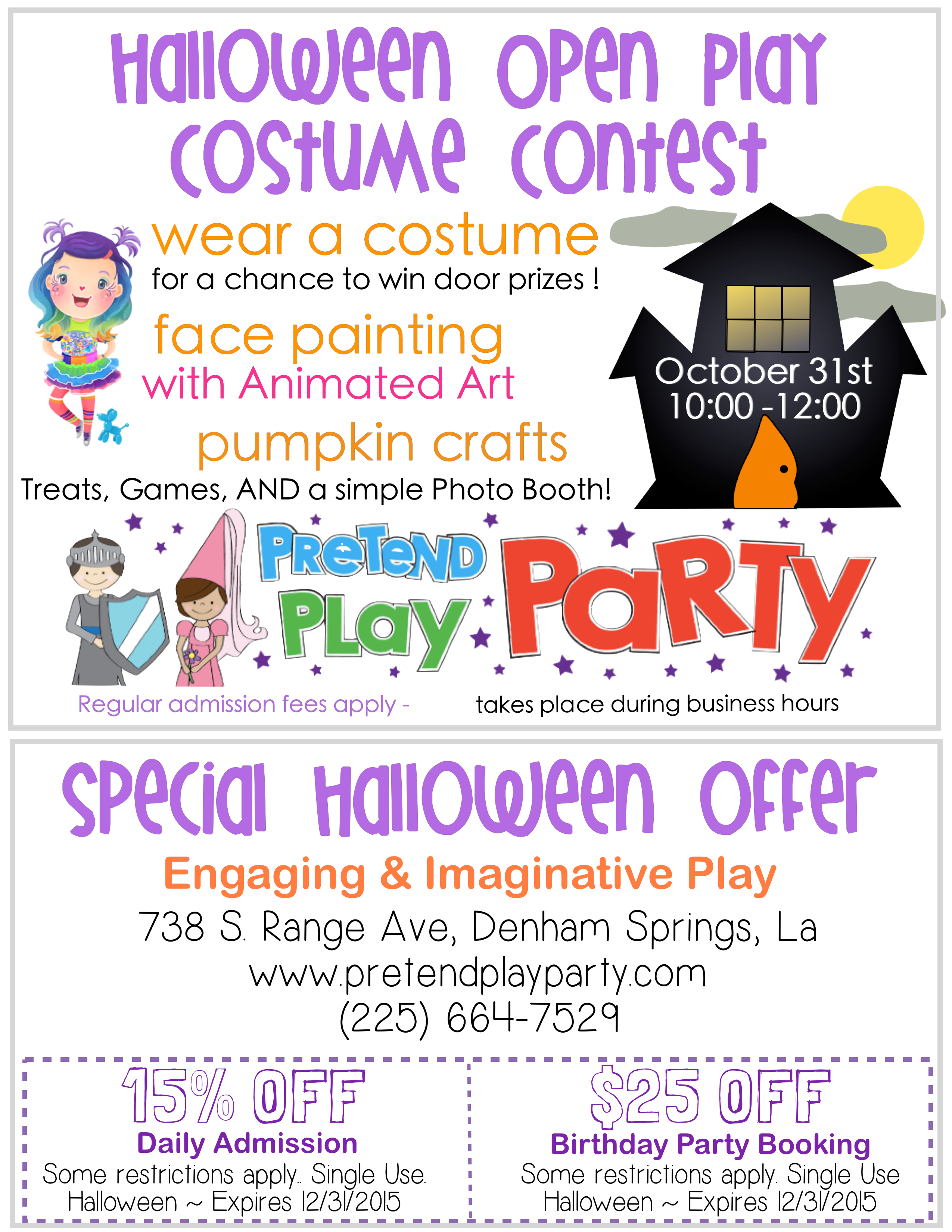 Halloween Open Play & Costume Contest – Near Baton Rouge